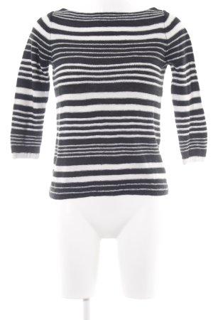 Lauren Jeans Co. Ralph Lauren Rundhalspullover weiß-schwarz Streifenmuster