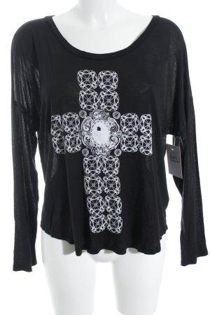Lauren Moshi Longsleeve black-white themed print casual look