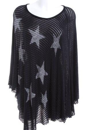 Lauren Moshi Poncho black-white allover print casual look