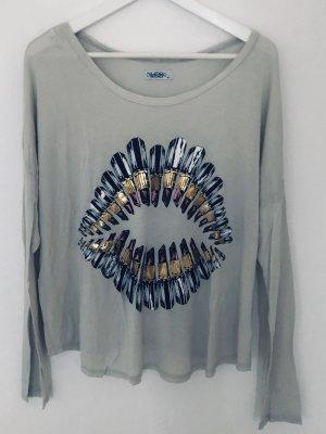 Lauren Moshi Shirt Longsleeve Oversize Mund Lipstick Beige Gr. M