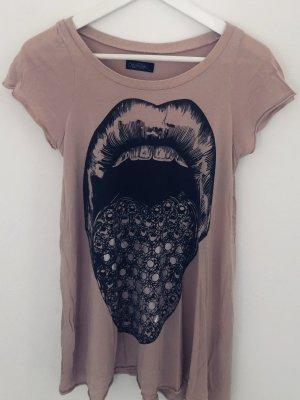 Lauren Moshi T-Shirt Mund Lippen Zähne Glitter Altrosé Schwarz Gr. M