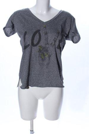 Lauren Moshi V-Neck Shirt light grey flecked casual look