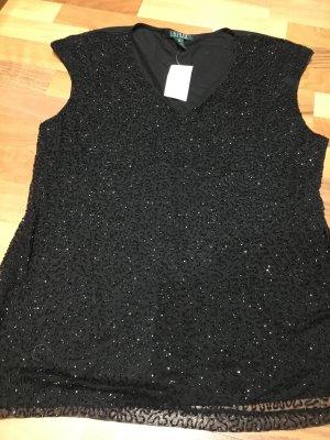 LAUREN Ralph Lauren festliches T-Shirt mit aufgestickten Perlen, schwarz, Gr. XL NEU mit Etikett!
