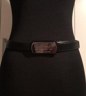 Lauren by Ralph Lauren Cinturón de cuero negro-color plata