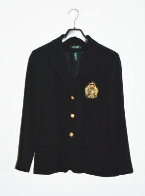 Lauren Ralph Lauren Navy Marine Logo Blazer wolle Schwarz 38 US 8