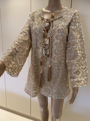 Laurie & Joe Bluse Shirt mit Perlen klein pommel Amulett vorne einheitsgrösse neu mit Etikett