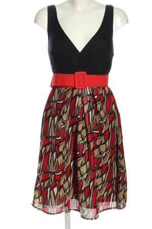 Lavand Robe empire noir-rouge motif abstrait élégant