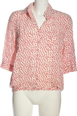 Lavand Camicia blusa bianco sporco-rosso stampa integrale stile casual