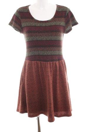 Lavand Abito a maniche corte marrone-rosso motivo grafico stile casual
