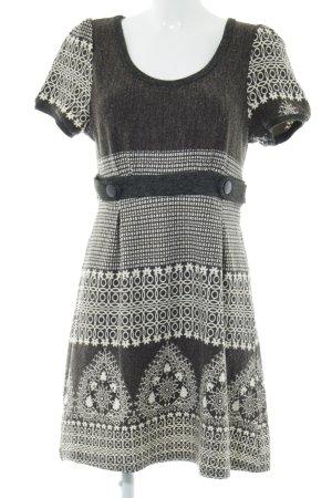 Lavand Shirtkleid hellgrau-creme abstraktes Muster Casual-Look