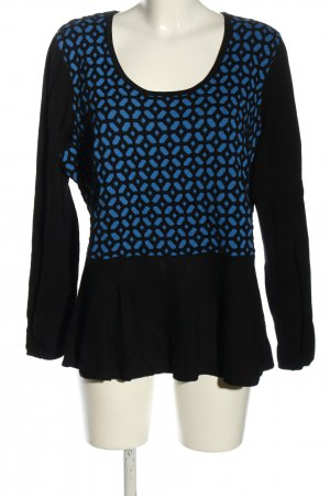 Lavelle Longsleeve schwarz-blau grafisches Muster Casual-Look
