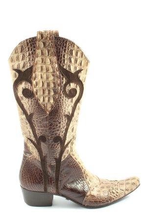 Lavorate a mano Boots western crème-brun imprimé allover style extravagant