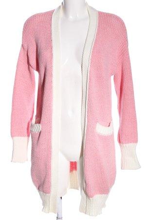 Lawrence Grey Kardigan różowy-biały Warkoczowy wzór W stylu casual