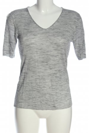 Lawrence Grey V-hals shirt lichtgrijs-zwart gestippeld casual uitstraling