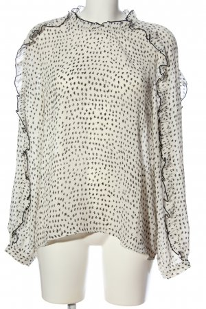 Lawrence Grey Ruffled Blouse cream-black allover print business style