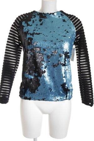 Layers Longsleeve schwarz-hellblau abstraktes Muster Elegant