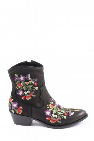 Lazamani Reißverschluss-Stiefeletten schwarz Blumenmuster extravaganter Stil