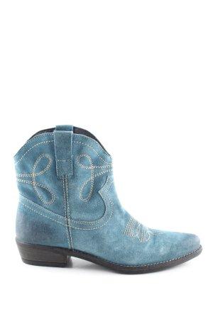 Lazamani Western-Stiefeletten blau extravaganter Stil