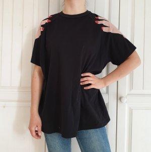 Lazy oaf Hände True Vintage Oversize Top T-Shirt shirt Schwarz oberteil Bluse Hemd croptop pullover