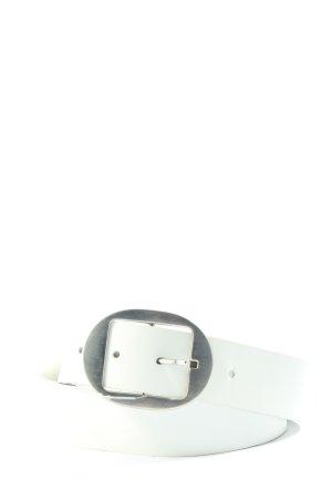 lazzarini Cinturón de cuero blanco estilo «business»