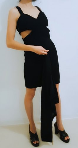 Made in Italy Vestido cut out negro-color oro