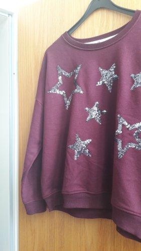 LBT Sweater mit Pailletten, Sterne,  weinrot / purpur, Größe M/L