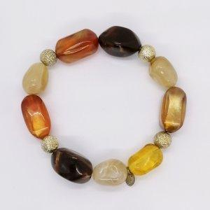 LBVYR Braun oranges Armband mit großen Perlen