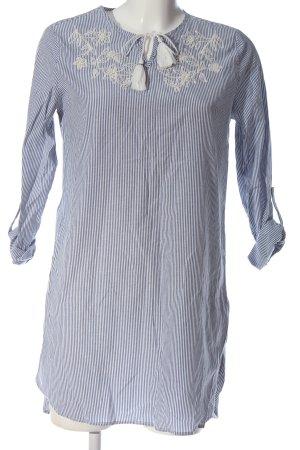 LC Waikiki Robe chemise bleu-blanc motif rayé style décontracté