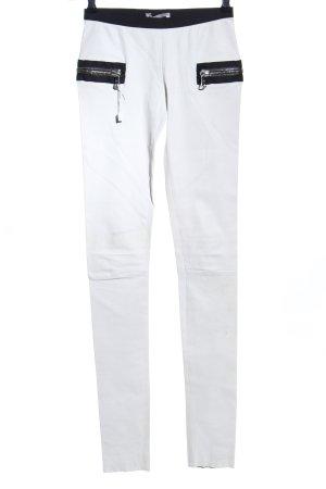 Lederhose weiß-schwarz Elegant
