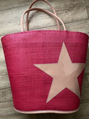 Borsetta a cestino rosso lampone-rosa