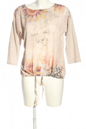 Le Comte Oversized Shirt creme-hellorange grafisches Muster Casual-Look