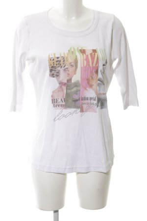 Le Comte Print-Shirt weiß Motivdruck Casual-Look