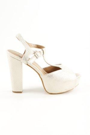 Zapatos de tacón con barra en T crema estampado de animales estilo extravagante
