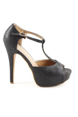 Zapatos de tacón con barra en T negro estampado de animales estilo fiesta