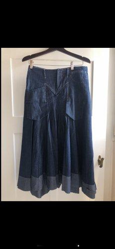 Le Jean De Marithé + Francois Girbaud Asymmetry Skirt steel blue