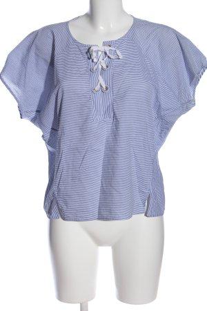 Le Sarte Pettegole Kurzarm-Bluse blau-weiß Streifenmuster Casual-Look