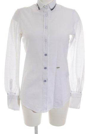Le Sarte Pettegole Langarm-Bluse weiß-dunkelblau Casual-Look