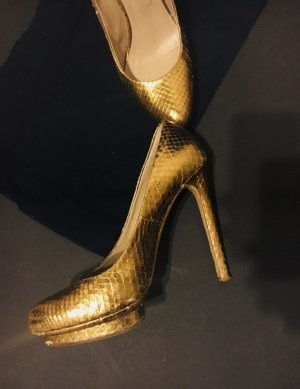 Le Silla Pumps Schuhe High Heels Gold Leder