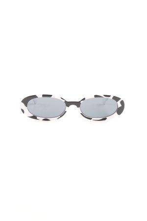 Le Specs Occhiale da sole ovale bianco-nero stile da moda di strada
