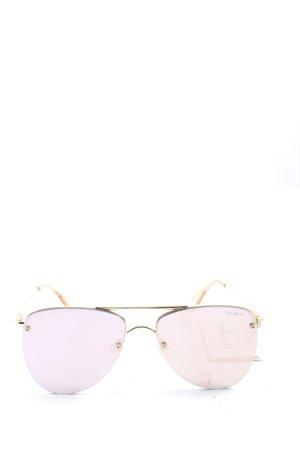 Le Specs Pilot Brille goldfarben-pink Schriftzug gedruckt Casual-Look