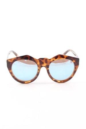 Le Specs Gafas Retro marrón-naranja claro estampado de leopardo