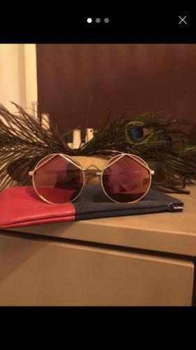 Le Specs Gafas de sol redondas color oro-magenta