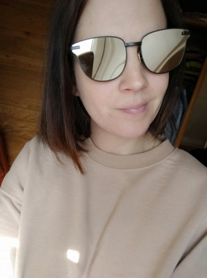 Le Specs Hoekige zonnebril zwart-goud