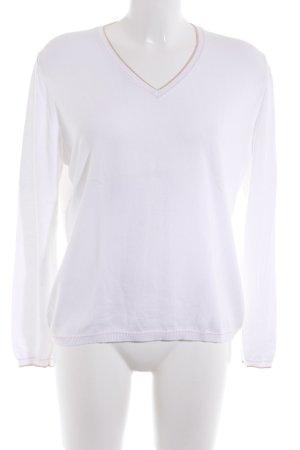 Le Tricot Longhin V-Ausschnitt-Pullover weiß Casual-Look