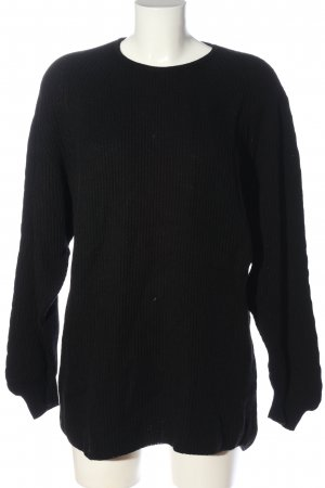 Le Tricot Perugia Rundhalspullover schwarz Zopfmuster Casual-Look