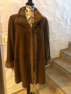 Hand made Leather Coat cognac-coloured