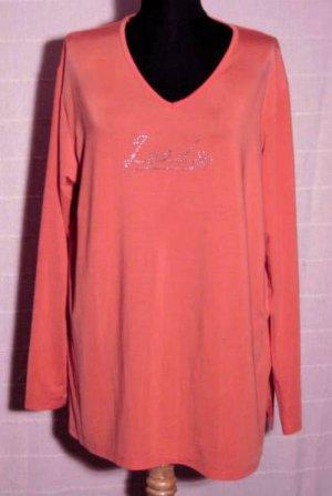 LEADS Shirt Größe XL/XXL Lachs Rosa Strass Stretch
