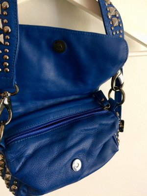 Leather bag with studs, Tosca Blu