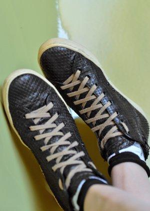 Leather Crown Basket montante noir cuir