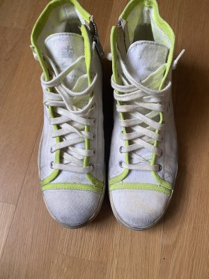 Leather Crown Sneaker Used-Look Hightop neon Golden Goose Gr. 40 mit Reißverschluss an den Innenseiten